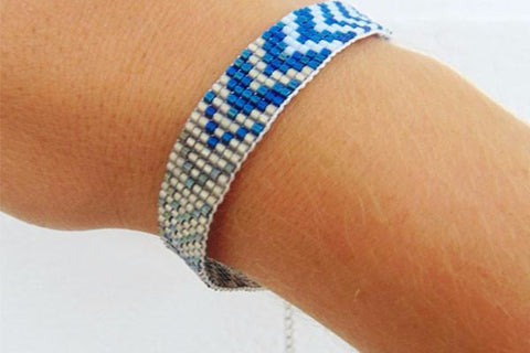 Let's Dance Blue Beaded Bangle Bracelet