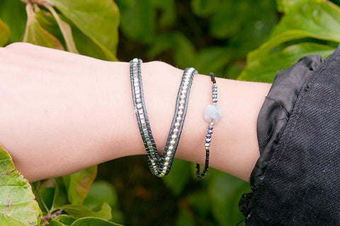 Loopallu Black & Crystal Beaded Stretch Bracelet