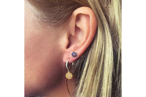 Lovell Amber Gold CZ Drop Earrings