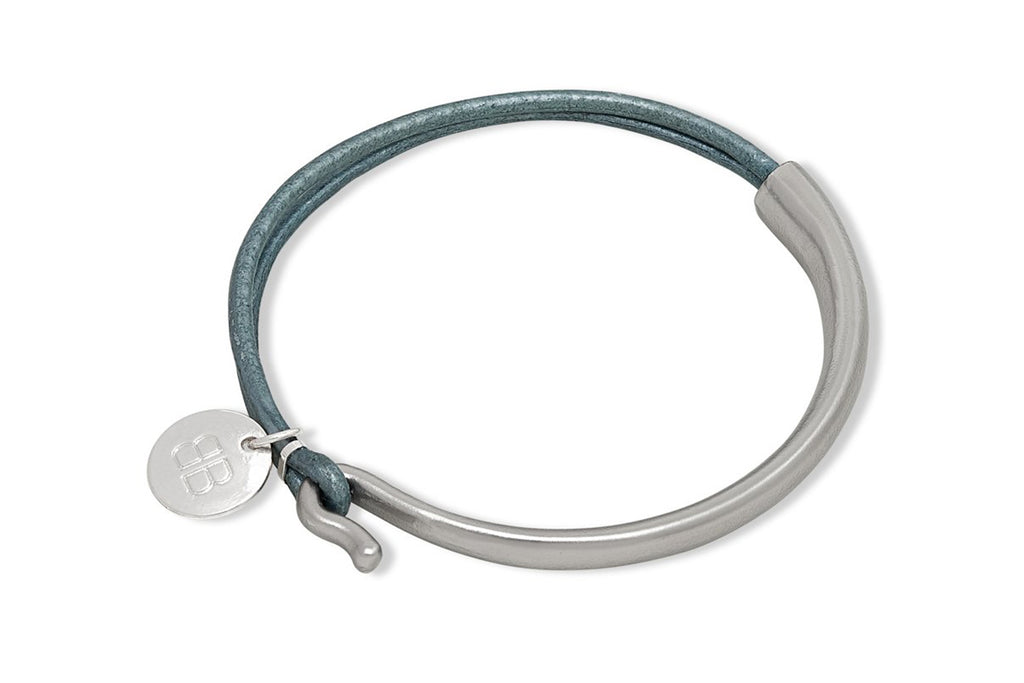 Lunain Teal Leather & Silver Bangle