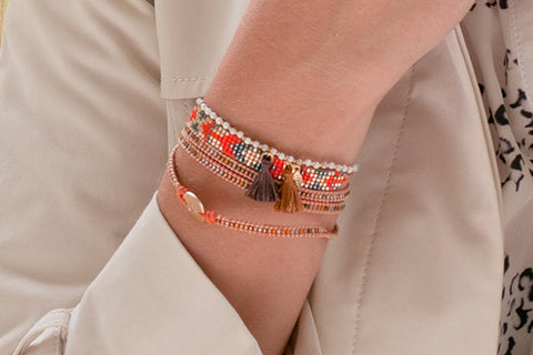 Rainey 3 Wrap Orange Beaded Bracelet