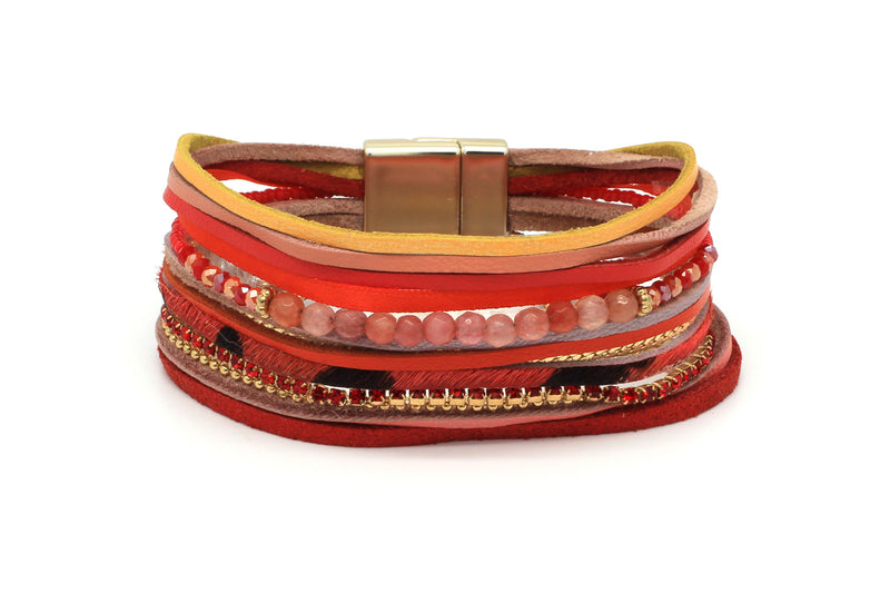 Tuko Red Leather Magnet Bracelet - Boho Betty