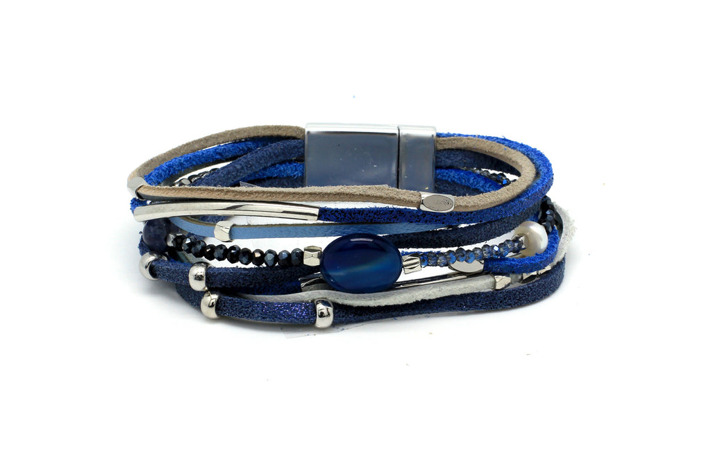 Vole Blue Leather Magnet Bracelet - Boho Betty