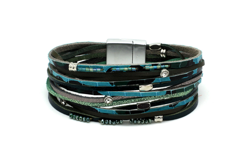 Vole Teal Leather Magnet Bracelet - Boho Betty