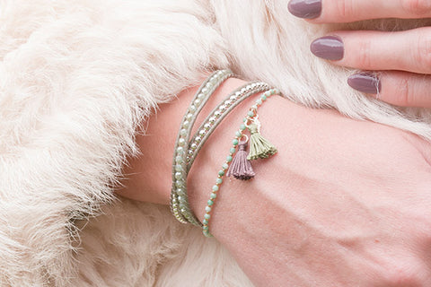 Mantle Olive Leather 2 Wrap Bracelet