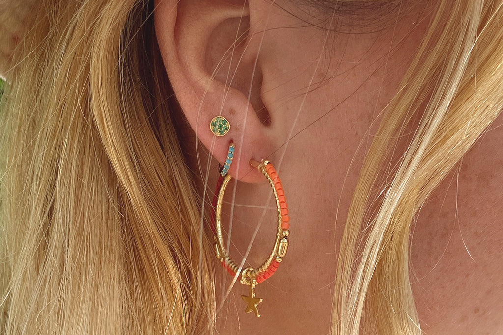 Nanche Orange Beaded Starfish Hoop Earrings