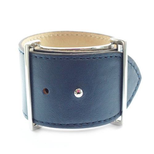 Navy Leather Cuff Bracelet with Silver Clasp