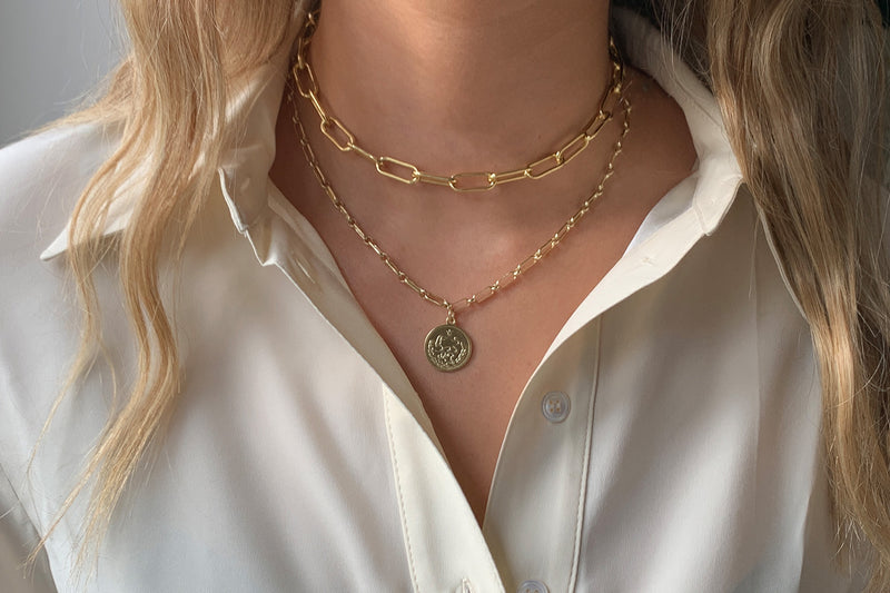Notus Gold Chunky Chain Medium Length Necklace - Boho Betty
