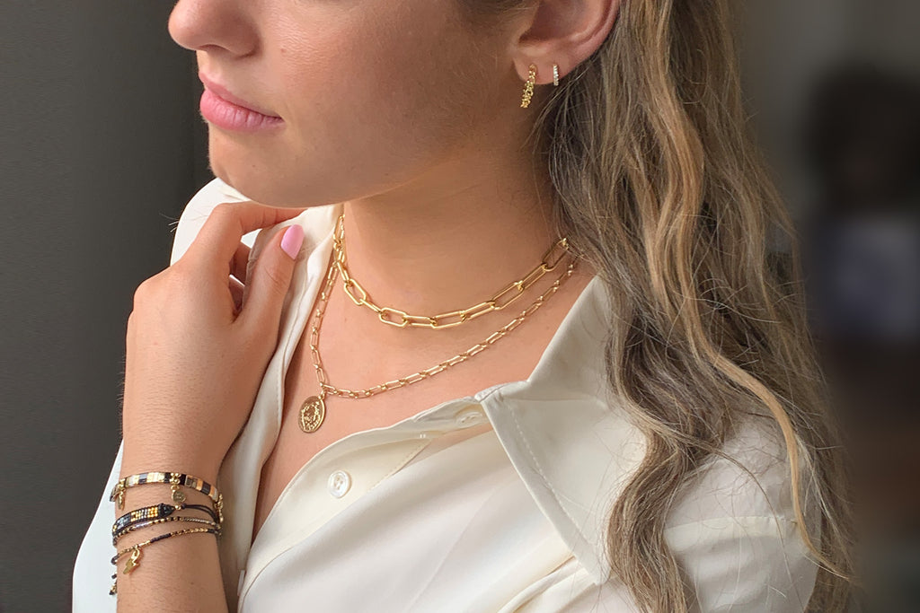Beira Gold 2 Chunky Chain Layering Necklace Set - Boho Betty