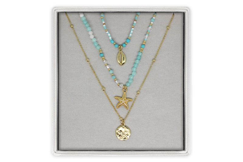 Turan Aqua Beaded Necklace 3 Set - Boho Betty