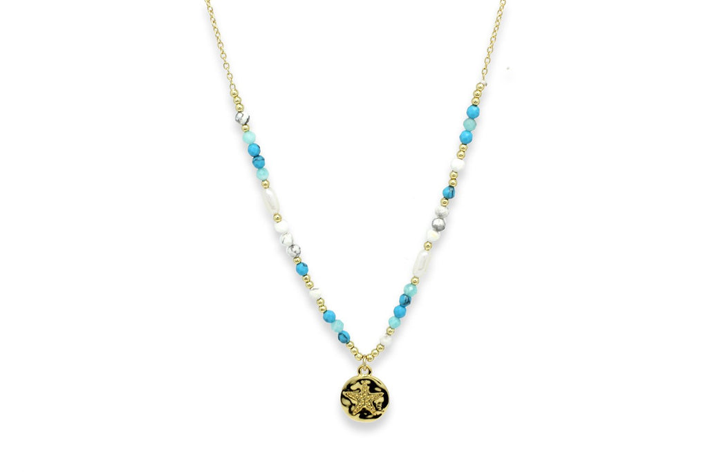 Avalon Turquoise & Gold Starfish Charm Necklace - Boho Betty