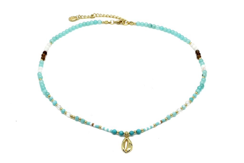 Baubo Aqua Beaded Necklace with Shell Charm - Boho Betty