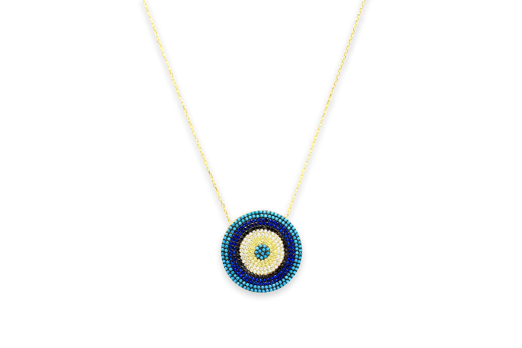 Briottet CZ Gold Blue Disc Beaded Necklace
