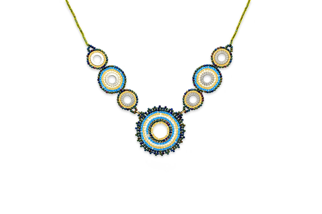 Demeter Teal Seed Bead Necklace - Boho Betty