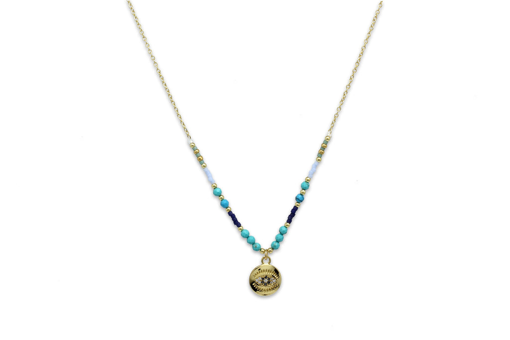 Fortuna Evil Eye Blue Necklace - Boho Betty