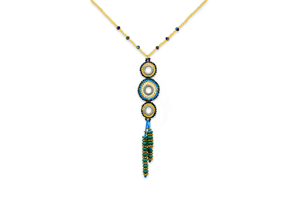 Hecate Seed Bead Teal Necklace - Boho Betty