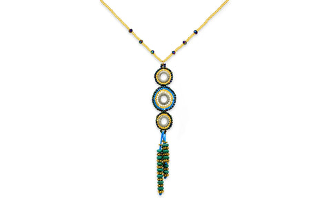 Hecate Seed Bead Teal Necklace