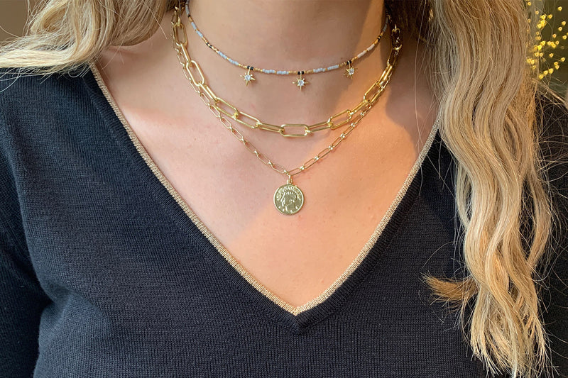 Dewi Gold Cable Chain Necklace with Coin Pendant - Boho Betty