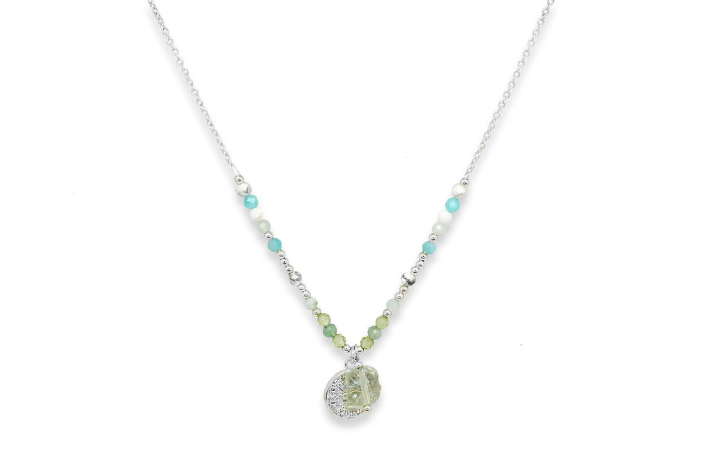 Lelia Silver & Aqua Beaded Necklace - Boho Betty