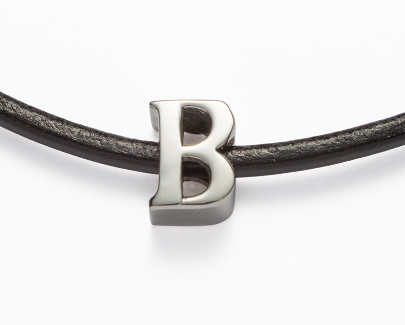 Leather Choker Letter Necklace - Boho Betty