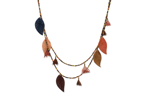 Manat Leather Multi Leaf Necklace