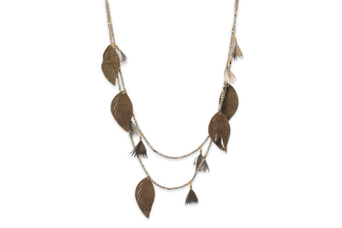 Manat Leather Taupe Leaf Necklace