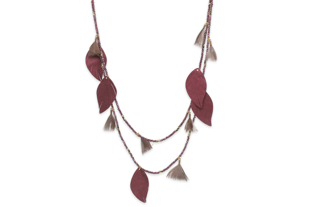 Manat Leather Wine Leaf Necklace