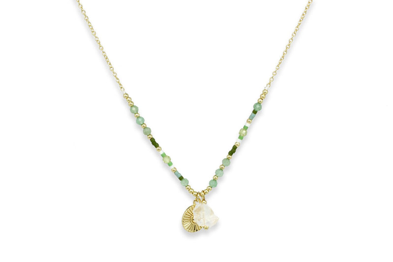 Meni Green Beaded Necklace - Boho Betty