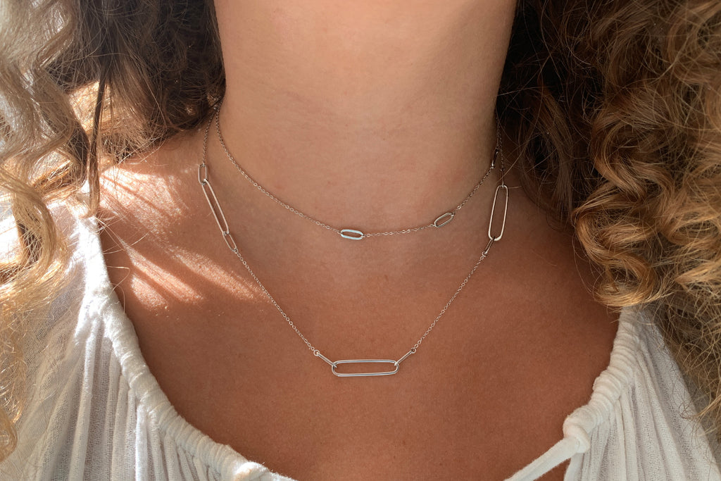 Ariana Silver Paperclip Link Necklace - Boho Betty