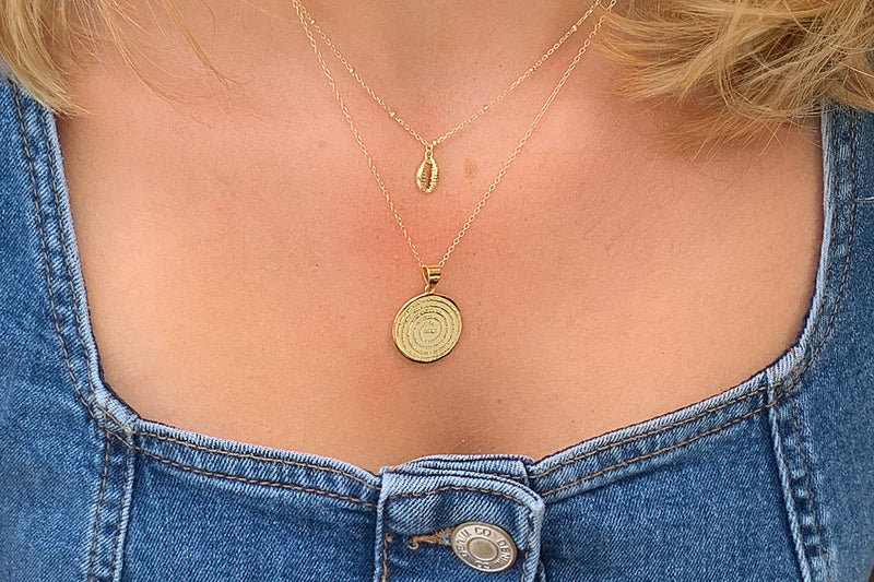 Mini Atlantic Gold Sterling Silver Disc Necklace - Boho Betty