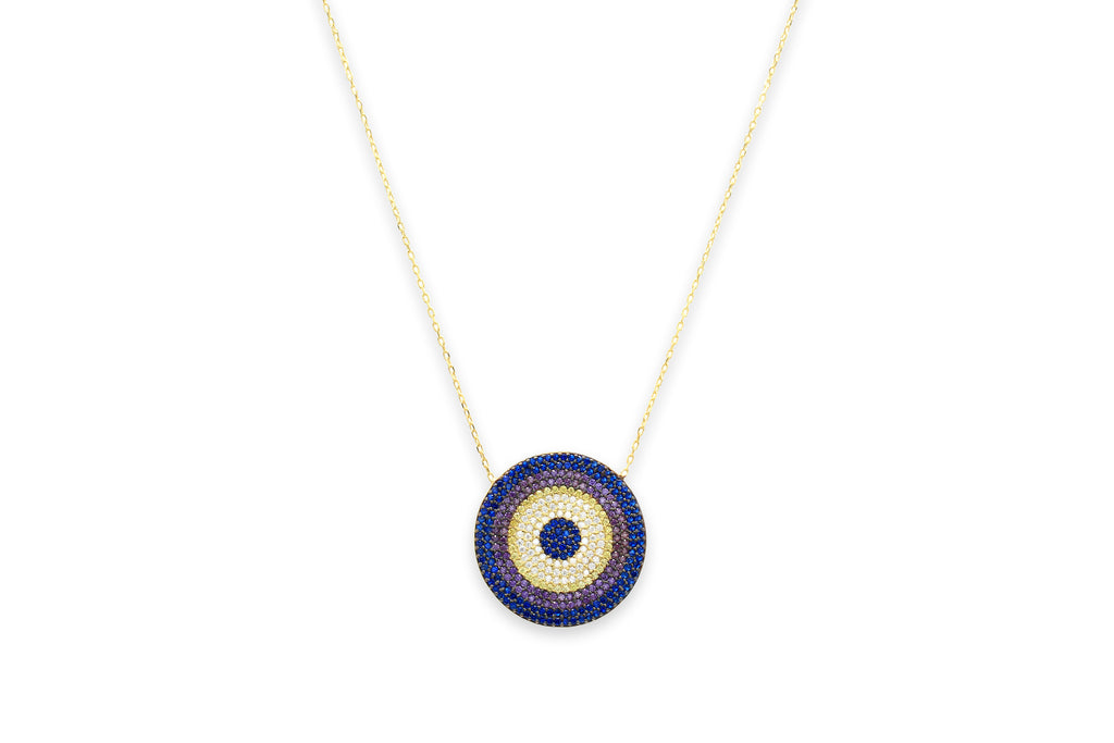 Prosecco CZ Disc Indigo Beaded Necklace