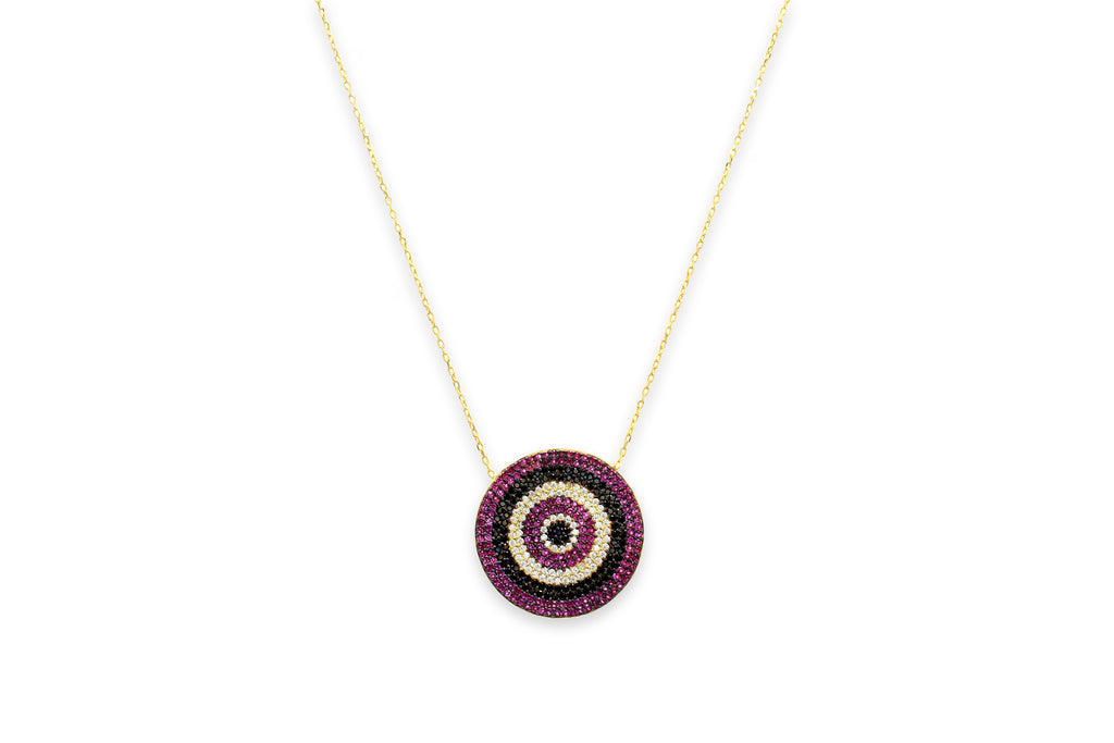 Prosecco CZ Disc Pink Beaded Necklace