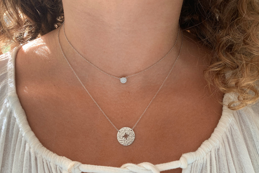 Rum Silver Compass Disc Necklace