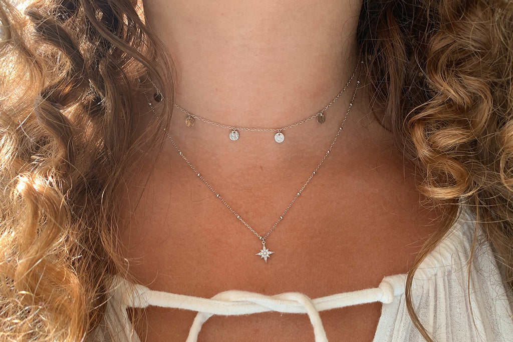 Burgundy Silver CZ Star Necklace