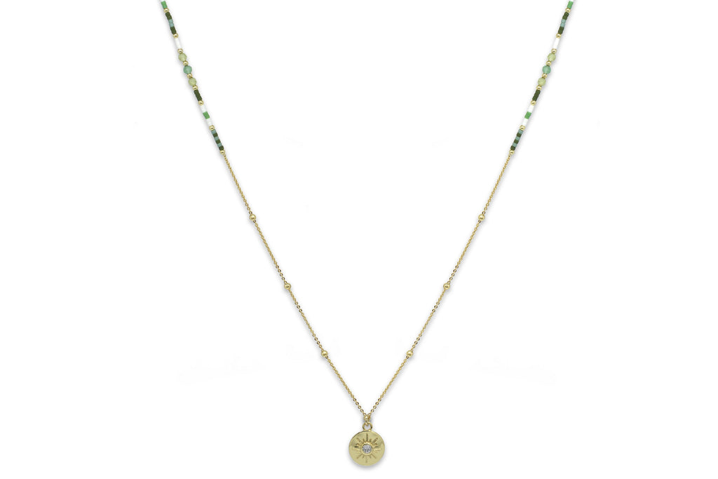 Theros Green Beaded Necklace - Boho Betty