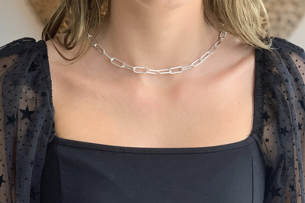 Notus Silver Chunky Chain Medium Length Necklace - Boho Betty