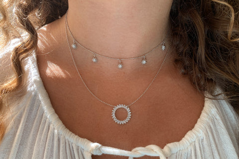 Agavero Silver CZ Disc Necklace