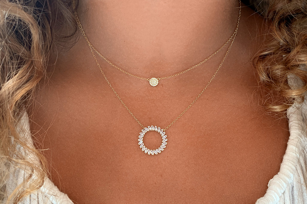 Agavero Gold CZ Disc Necklace - Boho Betty