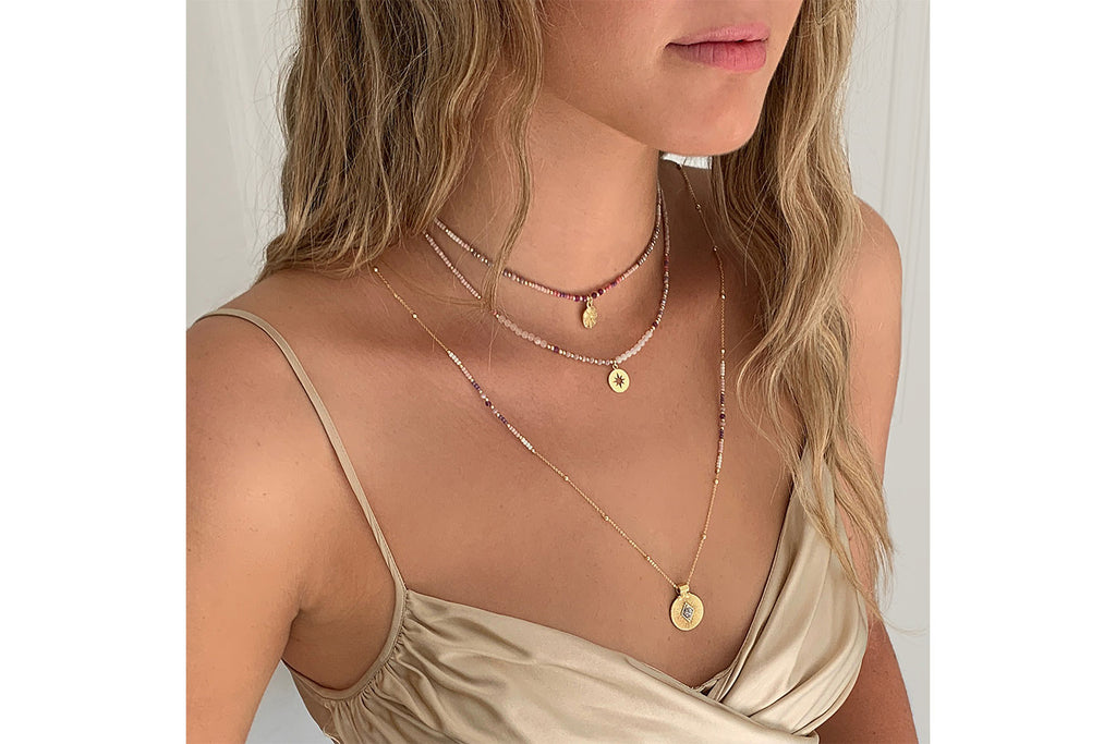 Boreas Pink & Gold 3 Layering Necklace Set