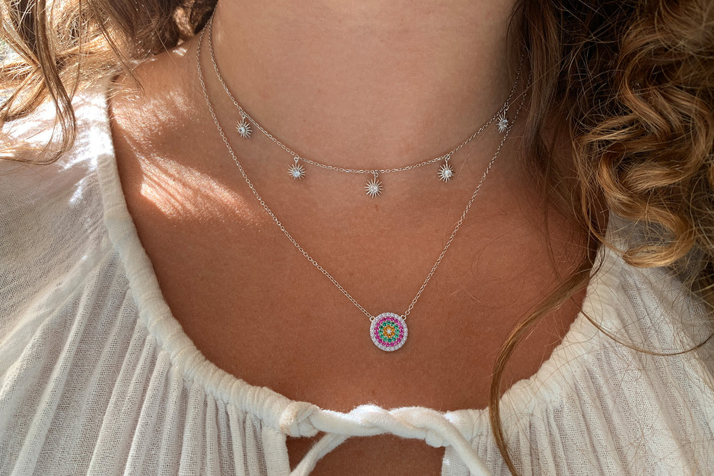 Iced Tea Sterling Silver CZ Disc Necklace - Boho Betty
