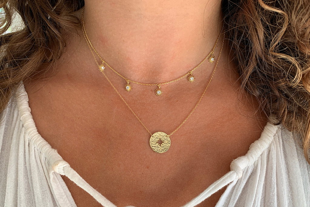 Daiquiri Gold Compass Disc Necklace - Boho Betty