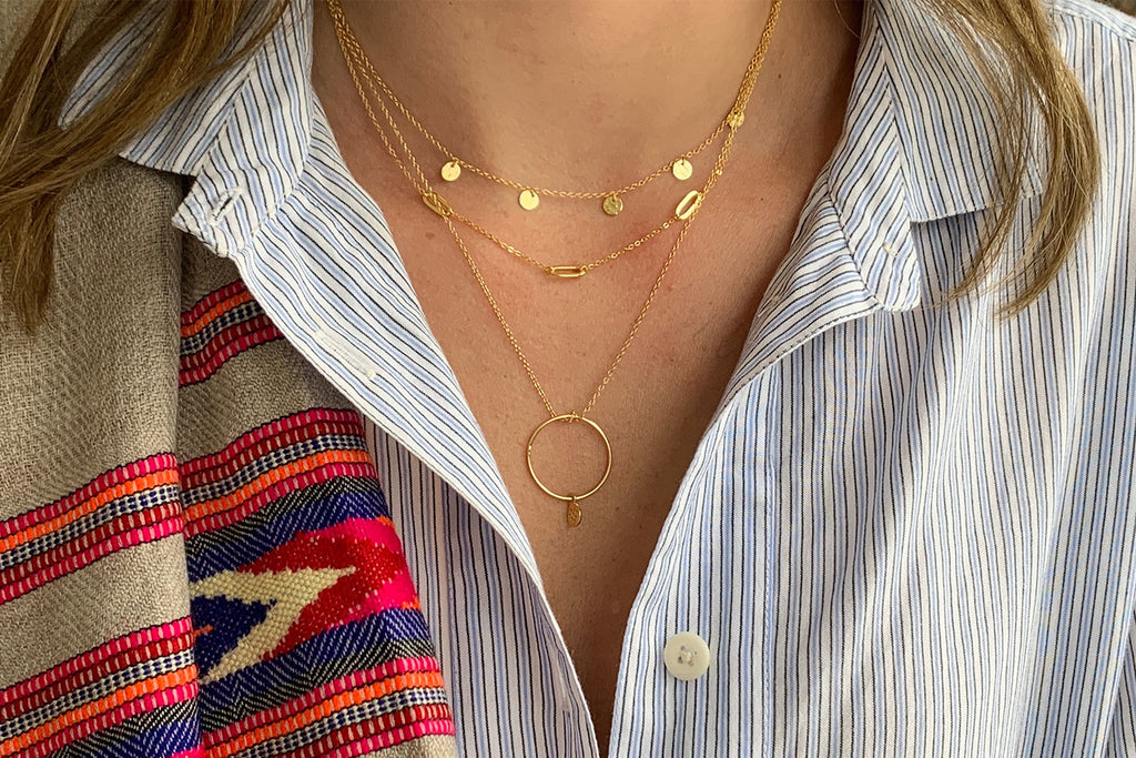 Sauterns Gold Battered Disc Necklace - Boho Betty