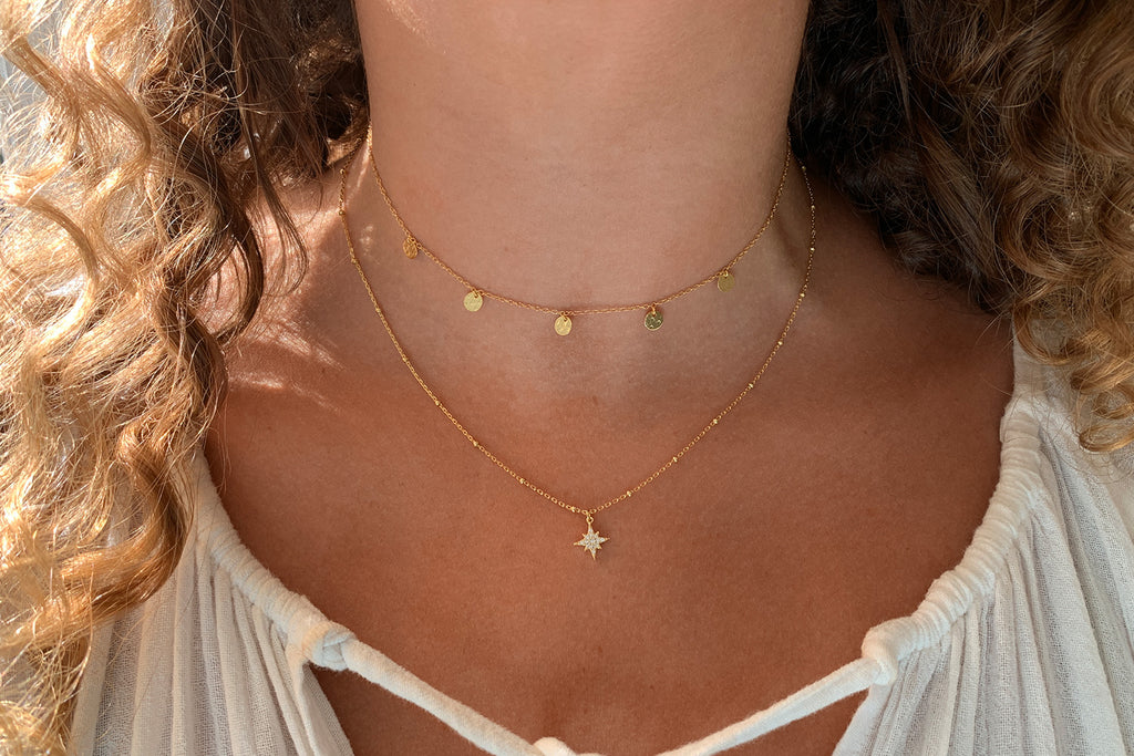 Burgundy Gold CZ Star Necklace - Boho Betty