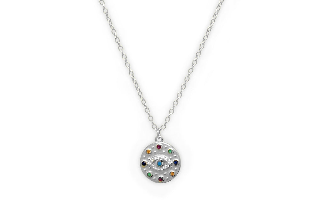 Bramble Silver CZ Evil Eye Necklace