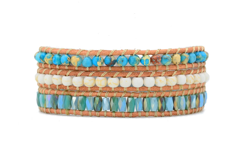Nicosia Mint Leather 3 Wrap Bracelet