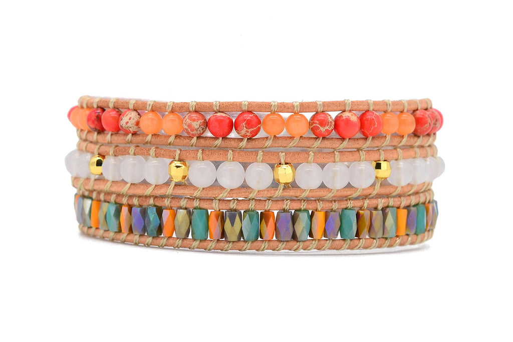 Nicosia Orange Leather 3 Wrap Bracelet - Boho Betty
