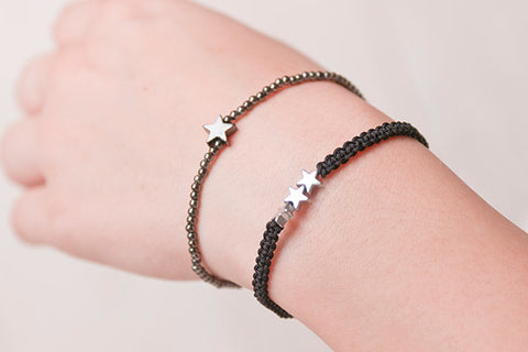 Ningaloo Black Beaded Stretch Bracelet with Star Charm