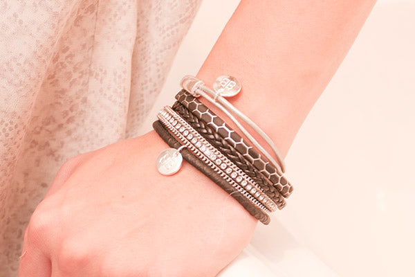 Oise Silver Leather &  Silver Balls Bangle - Boho Betty