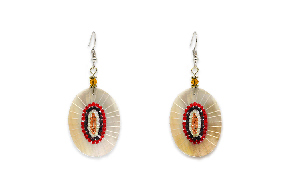Pagode Red Mini Bead Shell Earrings