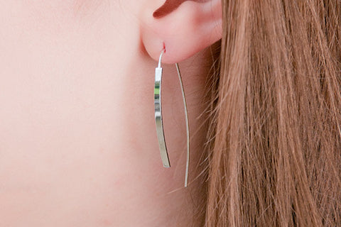 Penelope Silver Bar Thread Through Earrings